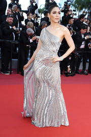 Araya Hargate looked radiant in a one-shoulder sequined gown by Zuhair Murad Couture at the 2019 Cannes Film Festival screening of 'Rocketman.'
