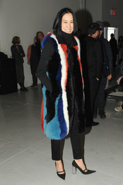 Eva Chen was a head turner in her multicolored fur coat during the Rodarte fashion show.