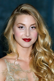 Whitney Port wore a rich glossy red lipstick while attending the 2012 Rodial Beautiful Awards.