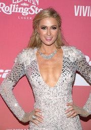 Paris Hilton accessorized with a silver statement ring to match her embellished dress for Rolling Stone Live Miami.