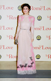 Alessandra Mastronardi was darling and demure in a long-sleeved nude lace dress with splashes of pink and black embroidery.