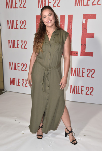 Ronda Rousey Strappy Sandals [stx films,mile 22,clothing,shoulder,premiere,fashion,dress,fashion design,joint,footwear,carpet,long hair,arrivals,rhonda rousey,photo call,los angeles,california,four seasons hotel,beverly hills,photo call]