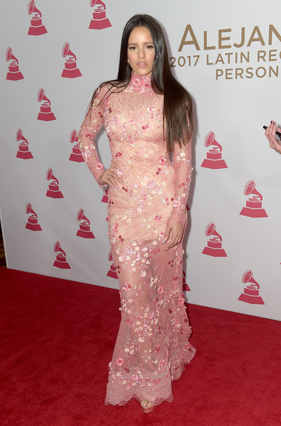 Rosalía Lace Dress [person of the year gala,red carpet,clothing,carpet,flooring,dress,premiere,hairstyle,fashion,pink,long hair,arrivals,alejandro sanz,rosal\u00eda,las vegas,nevada,mandalay bay convention center]