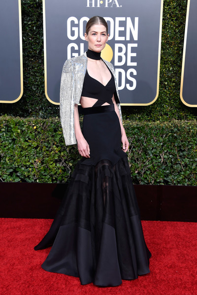 Rosamund Pike Cutout Dress [red carpet,carpet,clothing,dress,premiere,fashion,flooring,a-line,gown,event,arrivals,rosamund pike,the beverly hilton hotel,beverly hills,california,golden globe awards]