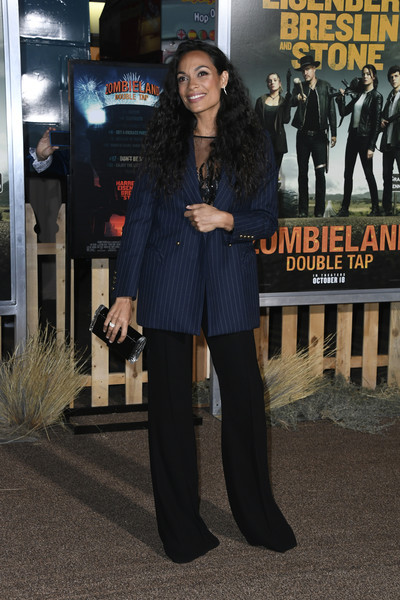 Rosario Dawson Hard Case Clutch [clothing,premiere,snapshot,fashion,street fashion,outerwear,suit,footwear,event,flooring,arrivals,rosario dawson,zombieland double tap,california,regency village theatre,sony pictures,westwood,premiere,sony pictures premiere]