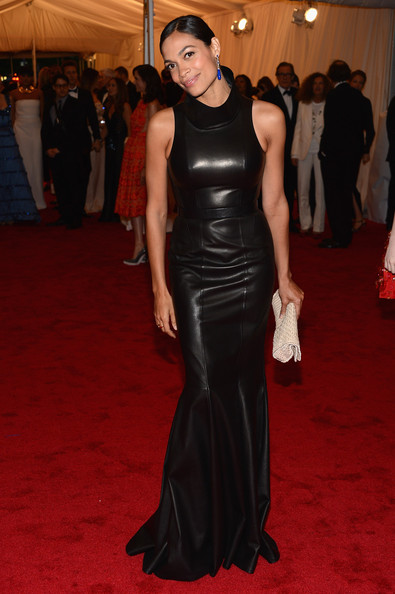 Rosario Dawson Leather Dress
