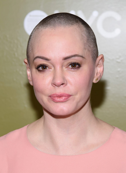 Rose McGowan Buzzcut [face,hair,eyebrow,lip,chin,hairstyle,skin,forehead,cheek,head,housing works design on a dime opening night reception,new york city,metropolitan pavilion,rose mcgowan]