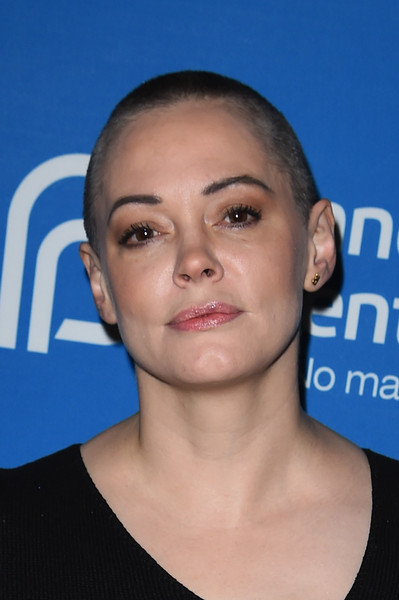 Rose McGowan Buzzcut [face,hair,eyebrow,forehead,chin,head,hairstyle,cheek,buzz cut,neck,lena dunham,rose mcgowan,park city,utah,the spur,planned parenthood host sex politics film cocktail reception]
