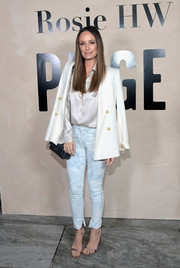 Catt Sadler attended the Rosie HW x Paige launch wearing a pair of tie dye-effect skinny jeans from the collection.