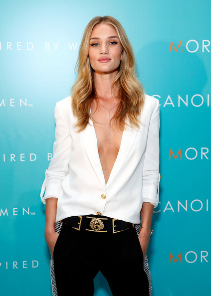 Rosie Huntington-Whiteley Leather Belt [clothing,fashion model,waist,beauty,long hair,fashion,blond,shoulder,outerwear,neck,rosie huntington-whiteley,new york city,iac building,by women campaign launch event,women campaign launch event,moroccanoil]