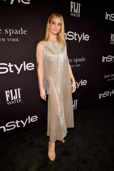 Rosie Huntington-Whiteley Fringed Dress [red carpet,dress,clothing,hairstyle,fashion,skin,shoulder,cocktail dress,premiere,carpet,joint,rosie huntington-whiteley,instyle awards,the getty center,los angeles,california]