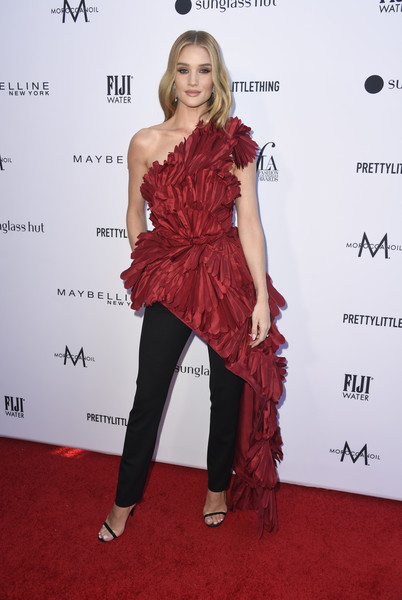 Rosie Huntington-Whiteley Skinny Pants [clothing,shoulder,red,red carpet,carpet,dress,fashion model,fashion,joint,premiere,arrivals,rosie huntington-whiteley,beverly hills hotel,california,daily front row,5th annual fashion los angeles awards]