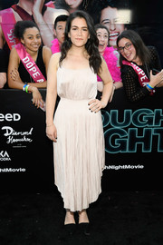 Abbi Jacobson chose a spaghetti-strap champagne dress for the New York premiere of 'Rough Night.'