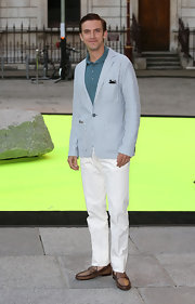 To keep his look summery and light, Dan opted for a pair of white chinos.