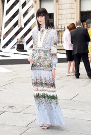 Erin O'Connor looked dainty in her garden-print maxi dress at the Royal Academy of Arts Summer Exhibition.