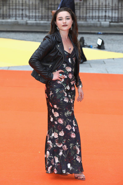 More Pics of Florence Pugh Leather Jacket (1 of 2) - Outerwear Lookbook - StyleBistro [clothing,fashion,red carpet,lady,leg,street fashion,orange,dress,carpet,flooring,party arrivals,florence pugh,england,london,royal academy of arts,royal academy summer exhibition,preview party]