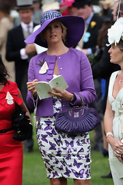 Penny Lancaster finished her Royal Ascot outfit by wearing a pretty purple hat.