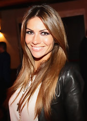 Alessia Ventura stepped out to a party in Milan, Italy wearing her long shiny mane in sleek layers.