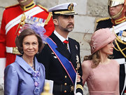 Queen Sofia topped off her lilac skirt suit with a tulle and floral embellished headband.