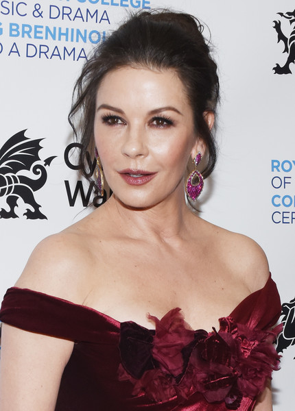 Catherine Zeta-Jones styled her hair into a loose bun for the Royal Welsh College of Music and Drama Gala.