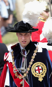 Prince William wore a velvet feathered decorative hat with his ensemble for the Order of the Garter Service.