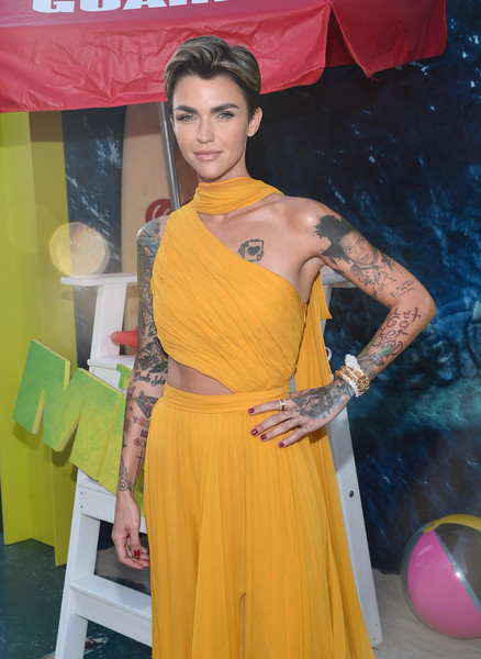Ruby Rose Diamond Bracelet [warner bros. pictures and gravity pictures premiere,the meg,yellow,clothing,shoulder,abdomen,fashion,dress,sari,leg,trunk,human body,red carpet,ruby rose,california,hollywood,tcl chinese theatre imax,premiere]