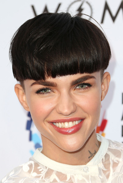 Ruby Rose Bowl Cut [evening with women benefitting the los angeles,hair,face,hairstyle,eyebrow,chin,bangs,lip,forehead,bob cut,black hair,ruby rose,los angeles,lgbt center,california,hollywood palladium,lgbt center - arrivals,an evening with women benefiting]