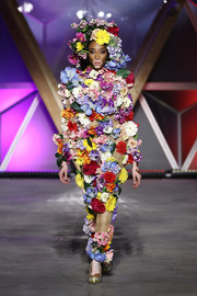 Winnie Harlow showed off a head-to-toe floral look during the Fashion for Relief runway show.