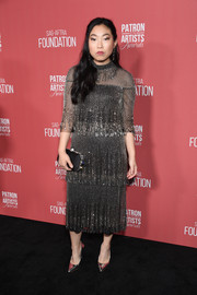 Awkwafina looked super classy in a tiered, beaded midi dress by Monique Lhuillier at the 2019 Patron of the Artists Awards.