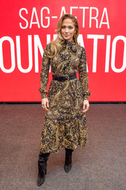 Jennifer Lopez donned an ornately beaded midi dress by Saint Laurent for the SAG-AFTRA Foundation Conversation: 'Hustlers.'