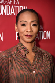 Betty Gabriel pulled her tresses back into a tight ponytail for the SAG-AFTRA Foundation Conversations.