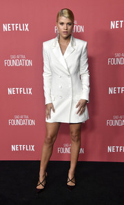 Sofia Richie looked impeccable in a white tuxedo dress by Rachel Zoe at the SAG-AFTRA Foundation Patron of the Artists Awards.
