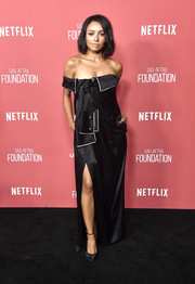 Kat Graham looked fashion-forward in a deconstructed-chic off-the-shoulder gown by Monse at the SAG-AFTRA Foundation Patron of the Artists Awards.