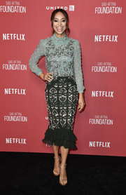 Amber Stevens West continued the frilly vibe with a pearl-embellished ruffle-hem skirt.