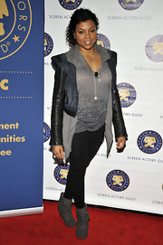 Taraji P. Henson looked casually cool in slouchy gray suede ankle boots.