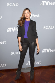 Dania Ramirez attended the 'Devious Maids' event during aTVfest wearing a black blazer over a bright purple blouse.