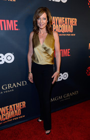 Allison Janney was casual-chic in a gold wrap top and black slacks at the Mayweather vs. Pacquiao pre-fight party.