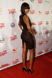 Jessica White looked fierce in pointy black patent stilettos.