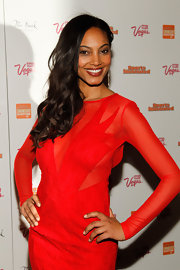 Ariel Meredith attended a 'Sports Illustrated' event in Las Vegas wearing a rich gold-infused cranberry shade of lipstick.