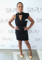 Monique Coleman worked an asymmetrical LBD with a yoke cutout at the SIMPLY Los Angeles Fashion + Beauty Conference.
