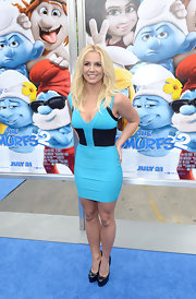 Britney appropriately donned blue at the premiere of 'The Smurfs 2' when she chose this fitted sky blue and black bandage dress.