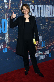 Sigourney Weaver was low-key in an all-black coat, shirt, and slacks combo at the SNL 40th anniversary celebration.