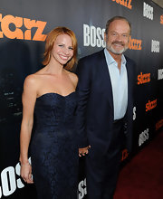 Kelsey Grammer looked snazzy in a navy pinstripe suit at the 'Boss' premiere.