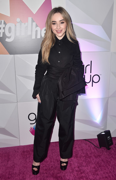 Sabrina Carpenter Platform Sandals [clothing,carpet,suit,fashion,red carpet,footwear,pantsuit,outerwear,flooring,premiere,arrivals,sabrina carpenter,inaugural girlhero awards,sls hotel,beverly hills,california,girl up,girlhero award luncheon]