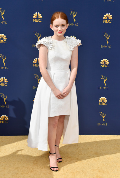Sadie Sink Strappy Sandals [fashion model,flooring,gown,beauty,lady,dress,carpet,shoulder,cocktail dress,girl,arrivals,sadie sink,emmy awards,70th emmy awards,microsoft theater,los angeles,california]