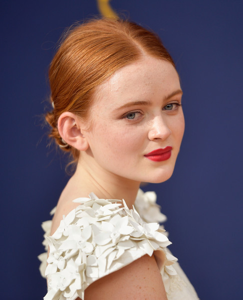 Sadie Sink Twisted Bun [hair,hairstyle,face,chin,beauty,lip,fashion,blond,eyebrow,skin,arrivals,sadie sink,emmy awards,70th emmy awards,microsoft theater,los angeles,california]