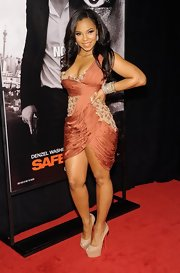Ashanti dazzled in this beaded cocktail dress for the 'Safe House' premiere.