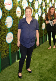 Drew Barrymore was dressed down in a navy maternity button-down and black skinny jeans during Safe Kids Day.
