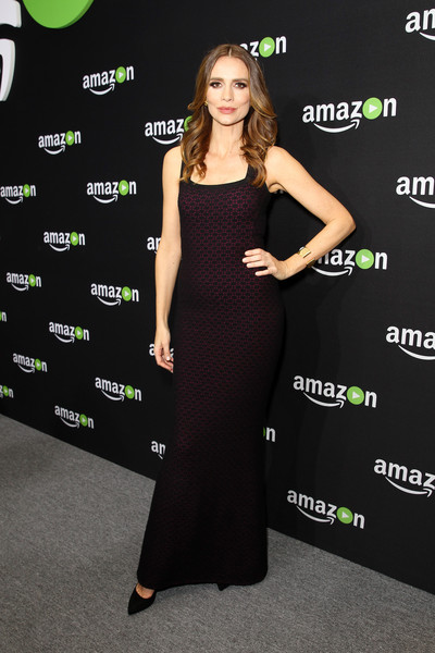 Saffron Burrows Form-Fitting Dress [dress,clothing,green,carpet,fashion,shoulder,premiere,cocktail dress,little black dress,flooring,saffron burrows,the beverly hilton hotel,beverly hills,california,amazon,golden globes celebration,golden globe awards celebration]