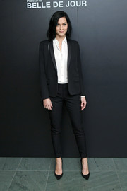 Leigh Lezark looked impeccable in a black pantsuit at the 'Belle de Jour' 50th anniversary screening.